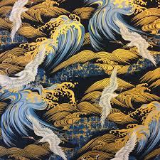 Kona Bay Cranes Waves Birds Japanese Asian Kona Bay Cotton Quilt ... & Kona Bay Cranes Waves Birds Japanese Asian Kona Bay Cotton Quilt Fabric KB24 Adamdwight.com