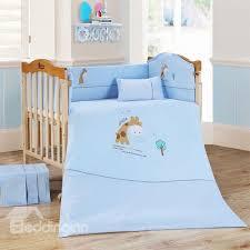 adorable blue giraffe 9 piece baby crib bedding set