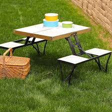 small rectangle portable fold out picnic table with white wooden top and bench plus black aluminum frame ideas