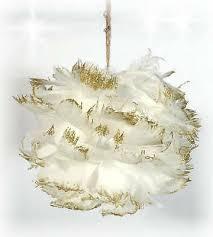 Blüte Ball Weiss Gold Federn Christbaumschmuck Tischdeko 12