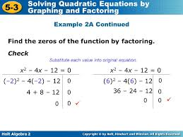 glencoe algebra 2 5 3 solving quadratic equations by graphing