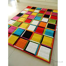 multi coloured 3d squares design funky bright modern thick soft heavy quality area rug small medium