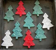 Ceramic Christmas Tree Ornaments White Ceramic tree Pottery mint tree red  Christmas Decoration Lots of Lace Ceramic Winter Home Decoration