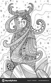 Surrealistische Vrouw Medicijnvrouw Kleurplaten Pagina Voor