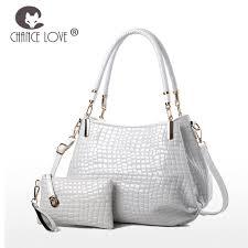 chance love 2018 new crocodile pattern patent leather bag composite bag shoulder slung handbag white bright leather handbag cross purse travel bags for