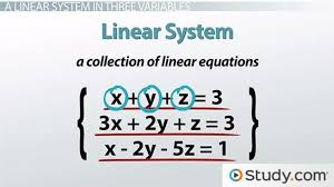 linear system in three variables with
