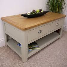 aspen oak coffee table with 2 drawers shelf sage grey painted with oak top