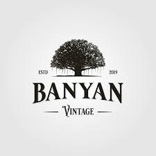 Banyan Tree Logo Design Vintage Retro Banyan Tree Logo Vector Icon Illustration By