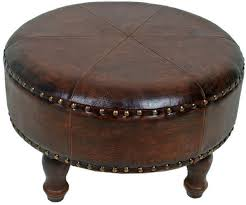 lovable round leather ottoman coffee table round leather ottomans extracms