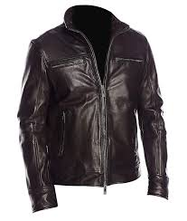 black classic standup collar zipped cuffs biker mens jacket