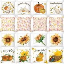 Fashion Christmas <b>Sunflower</b> Pumpkin <b>Printed</b> Cushion Cover Fall ...