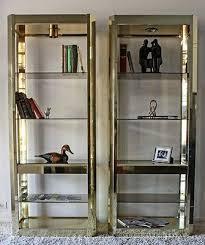 mid century hollywood regency style brass wall unit shelving units bookshelf