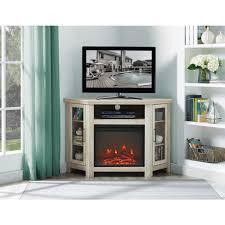 walker edison furniture company 48 in white oak wood corner fireplace media tv stand console