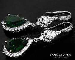emerald crystal chandelier earrings dark moss earrings green crystal silver bridal earrings green wedding teardrop earrings bridal jewelry 36 90 usd