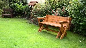 convertible diy outdoor foldable picnic table bench on green grass in the garden ideas
