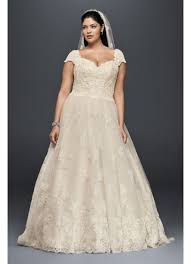 cap sleeve plus size wedding dress with lace david s bridal