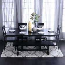 wood dining room sets. Walker Edison Furniture Company Millwright 6-Piece Black Dining Set Wood Room Sets
