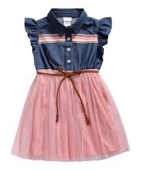 Youngland Pink Blue Chambray Belted Button Front Dress Toddler Girls