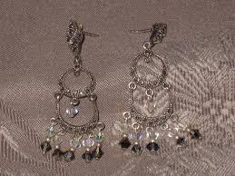 vintage boho 925 sterling silver marcasite crystal dangle chandelier earrings
