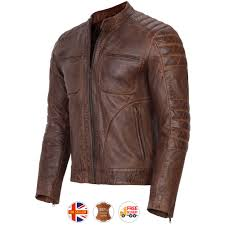 details about mens biker motorcycle genuine brown distressed leather jacket new s 3xl vintage