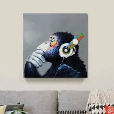 2018 thinking monkey canvas painting home decor canvas wall art picture digital art print for living room from utoart 13 55 dhgate com