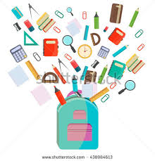 colorful office accessories. Vector Illustration Of Back To School Supplies. Supplies Learning Equipment And Different Colorful Office Accessories