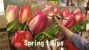 spring tulips work with two canvas work in english from oleg buiko oil painting you