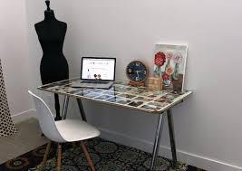 image of computer desk ikea glass top