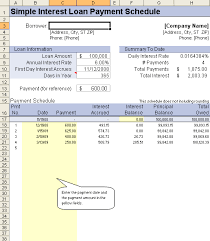Simple Interest Loan Amortization Schedule Simple Interest Schedule Magdalene Project Org