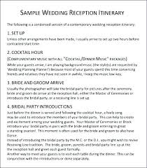 wedding reception agenda template wedding reception itinerary template day for bridal party