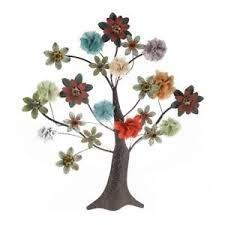 image is loading metal tree wall decor art sculpture with multi  on metal wall art shabby chic with metal tree wall decor art sculpture with multi colored flowers