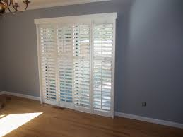 patio door shutter with wooden pattern floor and white 4 panel slider full size