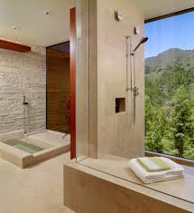 san francisco stacked wood wall bathroom contemporary with inset bathtub shower stalls and kits stone accent