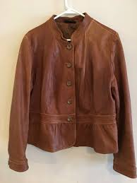 details about a n a women s xl leather jacket w ruffle coat caramel brown size xl