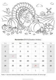 Calendario Noviembre 2020 Para Imprimir Calendario Noviembre 2019 Para Imprimir Estados Unidos