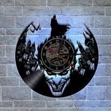 batman joker custom made gifts home decor modern design wall art decal sticker black diy 3d led night light quartz vinyl record wall clock clocks decorative
