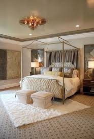 Home Decor. Splendid Bedroom Decoration Using Canopy Bed Equipped With  Linen Bedspread And Cushions Also