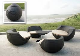 patio round black chair with white cuhsion wicker set for