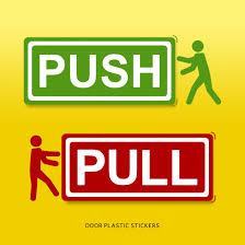 door sticker push pull