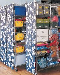chrome wire storage units with castes and fl patterned fabric shades on the sides