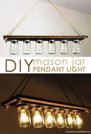 Turn a simple vanity strip of lights into a stunning pendant light. The  entire tutorial  Canning Jar LightsDiy Mason ...