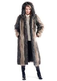 pieced fox hooded full length faux fur coat 1
