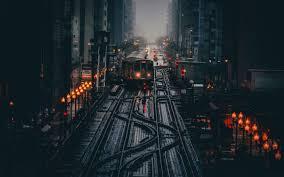 wallpaper chicago usa morning train