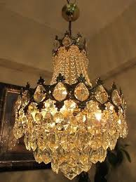 french basket style crystal chandelier er light 1940 s 14 in