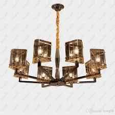 hot post modern art deco chandeliers creative mediterranean cognac color glass crystal pendant lamps living room bar villas lighting ligh with