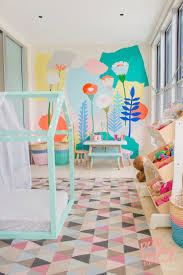 colorful kids furniture itrockstars modern playroom room mural wallpaper childrens table and chairs small family orating ideas cabinet sofa with rage