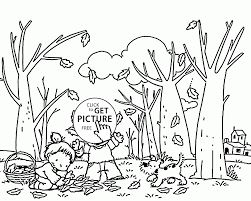 Small Picture Kids Collecting Fall Leaves coloring pages for kids seasons