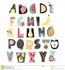 Abstract Alphabet Fruit Creative Kids Font Great For Education