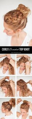 Second Day Curly Hairstyles Hair Romance Everyday Curly Hairstyles Curly Braided Top Knot