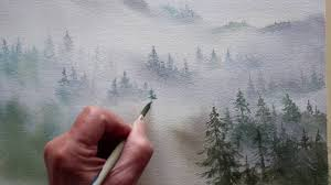 watercolor <b>trees in the</b> mist - YouTube